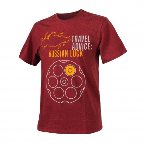 T-shirt Helikon-Tex Travel Advice Russian Luck Melange Red