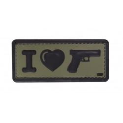 Naszywka 3D I Love My Glock Green