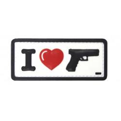 Naszywka 3D I Love My Glock White