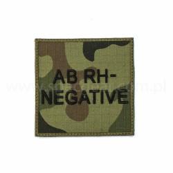 Naszywka grupa krwi AB Rh Neg wz93 94x94mm