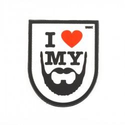 Naszywka 3D I Love My Beard White