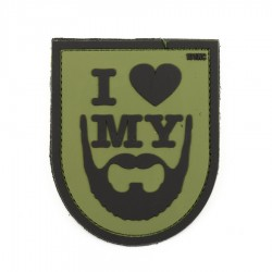Naszywka 3D I Love My Beard Green
