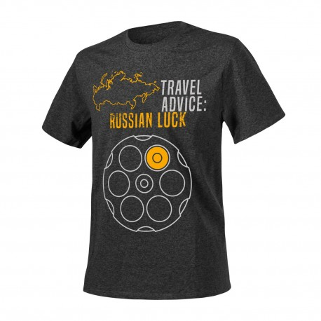 T-shirt Helikon-Tex Travel Advice Russian Luck Melange Black-Grey